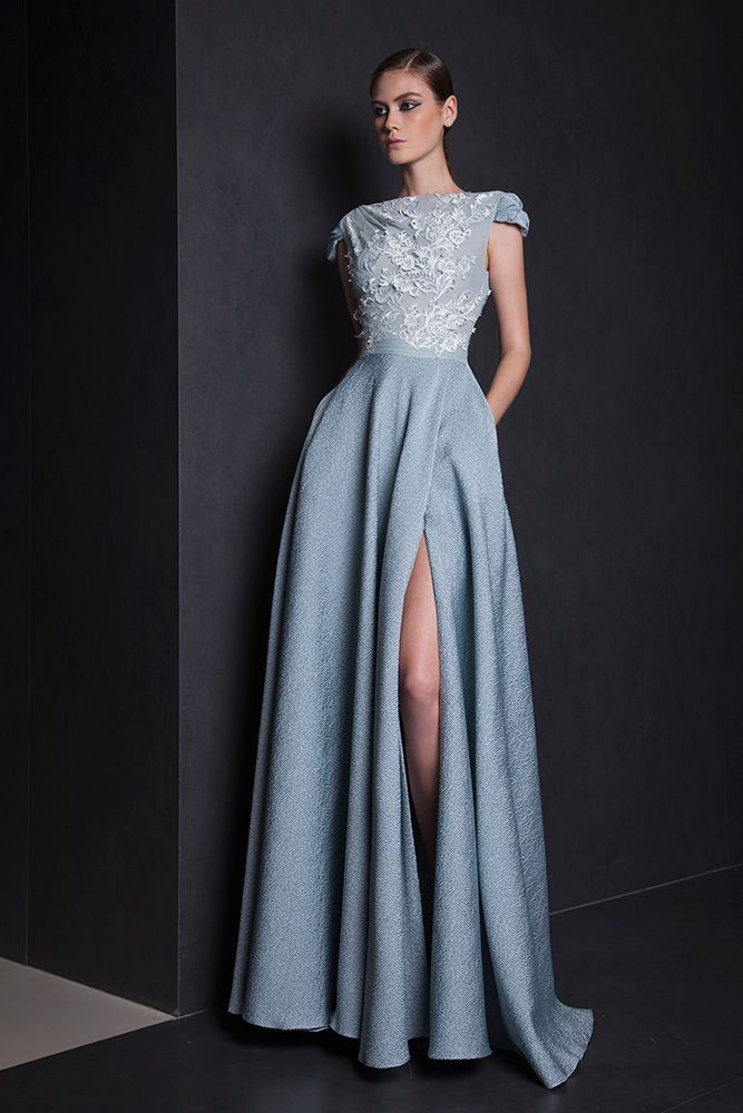 Tony Ward A-line Watergreen Jacquard dress with a side slit and a Tulle embellished bust.