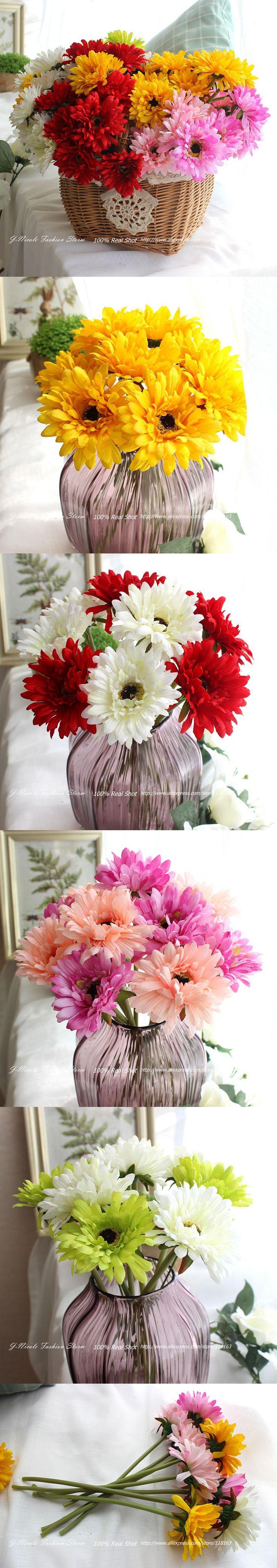 9pcs/lot Spring 1 Head Fresh Gerbera Decorative Silk Crown Daisy Aritificial Flowers Home Decor Wedding Bridal Bouquet $11.29