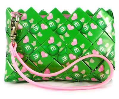 M & Ms Candy Wrappers recycled into a pink and green purse - awesome!