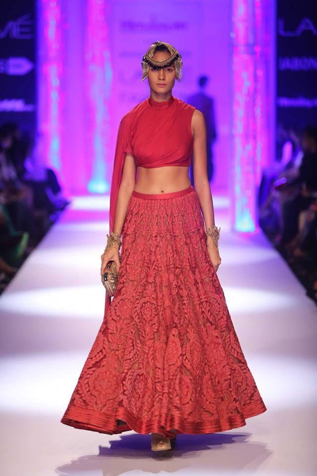 Red Indian bridal lehnga by Shantanu & Nikhil at Lakme Fashion Week Winter 2014