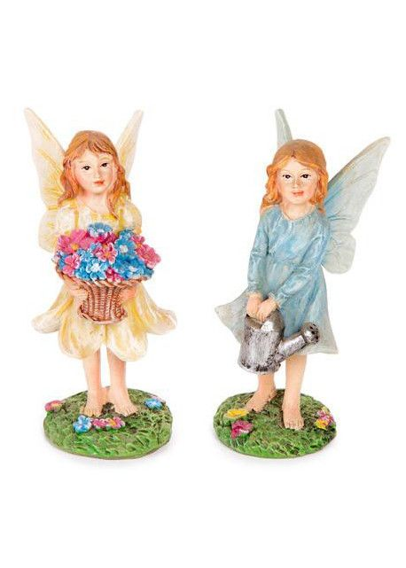 "Miniature Fairy Figurines in Yellow and Blue 2"" Tall 2 per Set"
