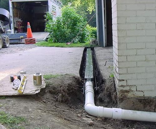 drainage ideas for hillside garage | Drainage Systems > Area Drains > Trench Drain