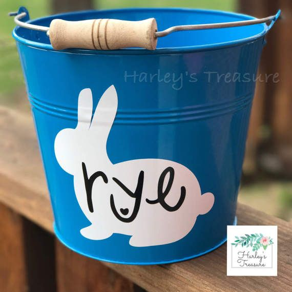 Enamel Coated Metal Easter Buckets. This listing is for one personalized Easter bucket. These 5 quart metal easter buckets have a durable metal coating on them. They hold lots of goodies! Accent them with colored paper grass (plastic grass is no good for the environment) and fill up