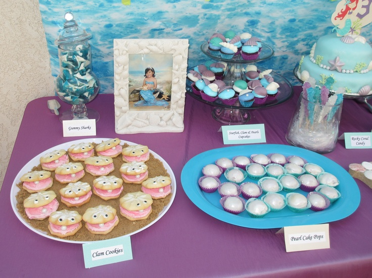 Clam Cookies And Pearl Cake Pops Erin S Mermaid Party