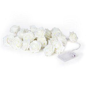 2,2 Mètres 20-LED Guirlande Lumineuse Forme de Fleur Rose Décoration de Noël Mariage – Blanc Chaud