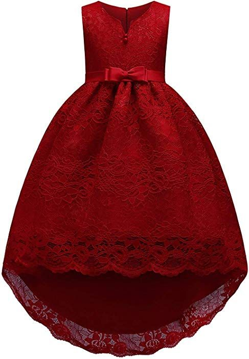 803fc3c7f4c Amazon.com  Big Girls Dresses 7-16 Special Occasion High Low Ball Gown Knee  Length Size 10-12 Flower Sleeveless Bridesmaid Dress for Teens Wedding  Party ...