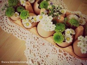 Osterdeko mit Eierschalen