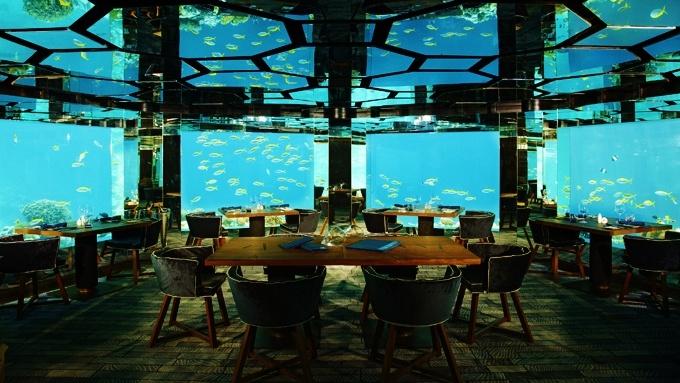 Underwater Restaurant in Luxury Anantara Kihavah Villas The hotel, resort and spas