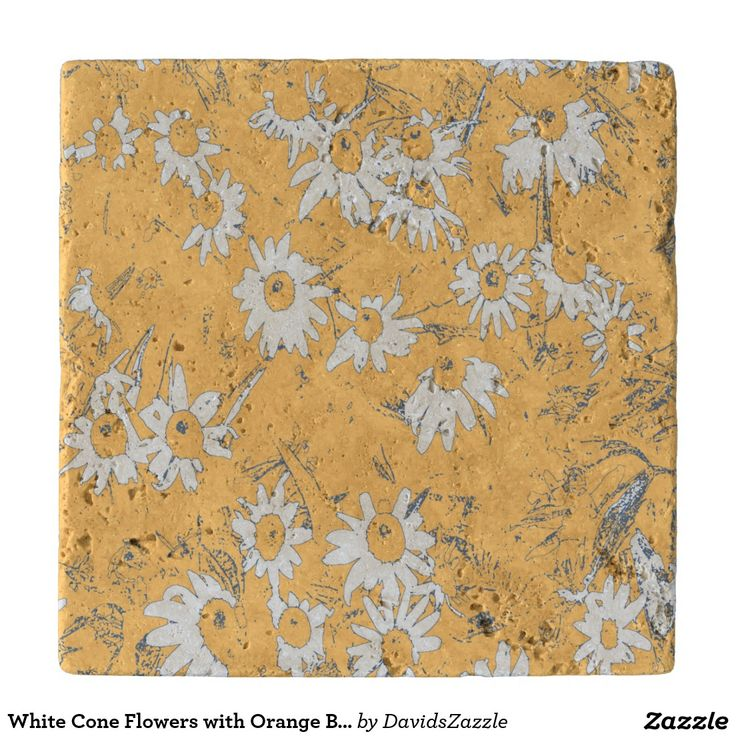 White Cone Flowers with Orange Background Heat Trivet Available on more products, type in the name of this design in the search bar on my products page to view them all!  #cone #daisy #shasta #calendula #floral #flower #orange #blue #white #grey #gray #pattern #print #all #over #abstract #plant #nature #earth #life #style #lifestyle #chic #modern #contemporary #home #decor #kitchen #dining