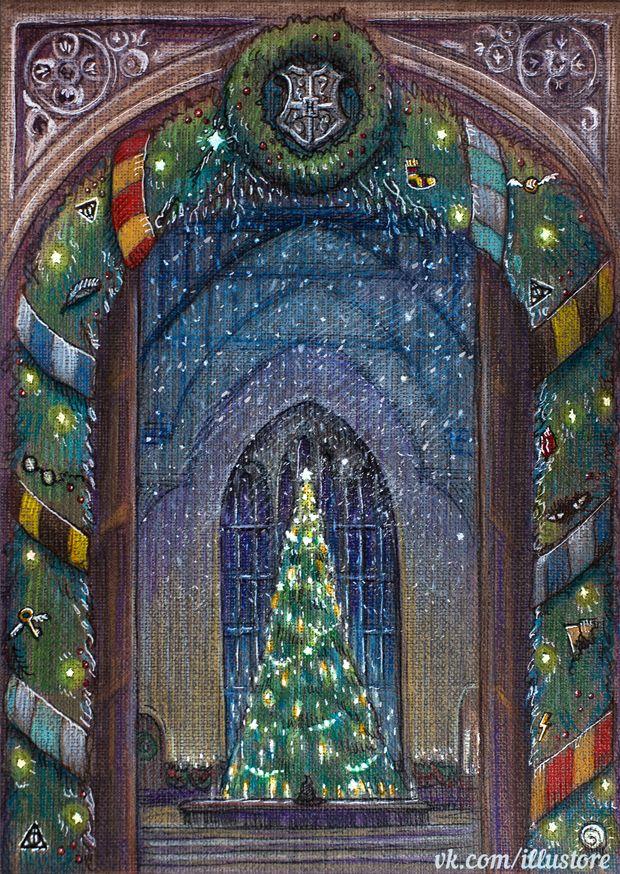 ''Hogwarts Christmas Card'' by nokeek (deviantART) source: http://nokeek.deviantart.com/art/Hogwarts-Christmas-Card-500058971