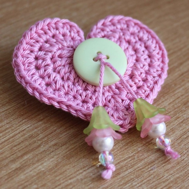 Pretty Pink Crochet Heart Brooch with Green Button and Flower Beads