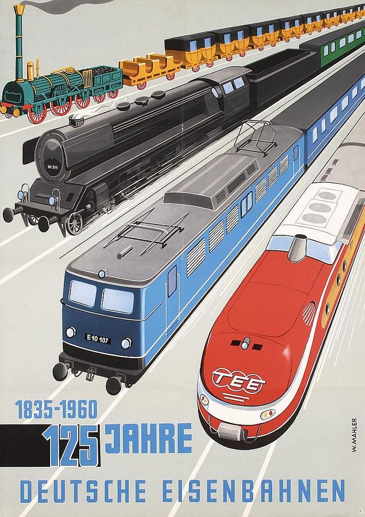 BRITISH TRAIN POSTERS Original 1960 German Railway Anniversary Travel Poster  JUL16