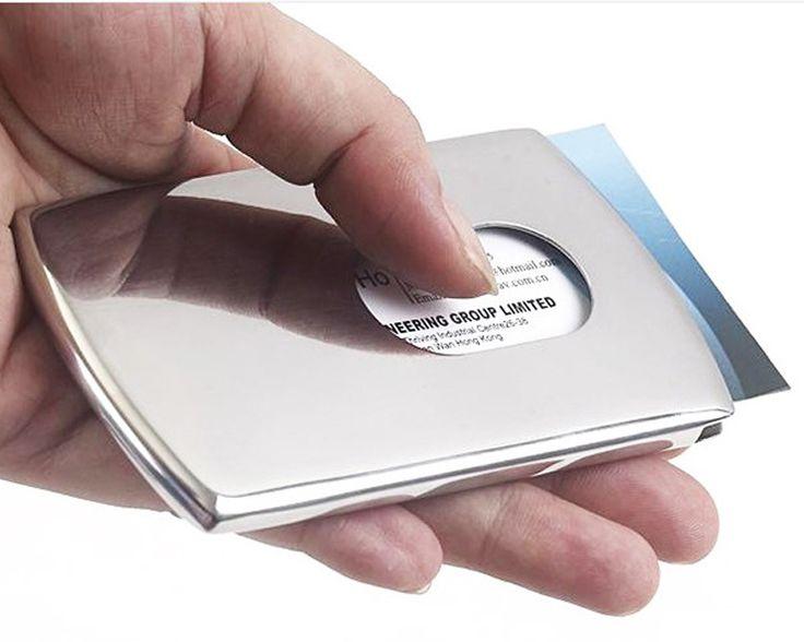 Vogue Thumb Slide Out Stainless Steel Pocket Bisnis ID Kartu Kredit Pemegang Kasus Pria Perlengkapan Kantor