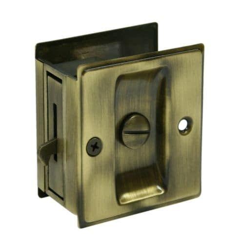 "Deltana SDL25 2-1/2"" x 2-3/4"" Solid Brass Pocket Door Privacy Lock (polished brass / chrome (Polished Brass/Grey))"