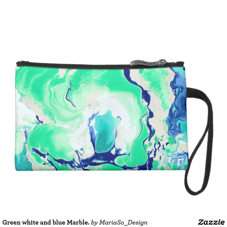 Green white and blue Marble. Suede Wristlet Wallet