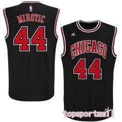 NBA Chicago Bulls 44 Nikola Mirotic Black Basketball Jersey Heat Applied