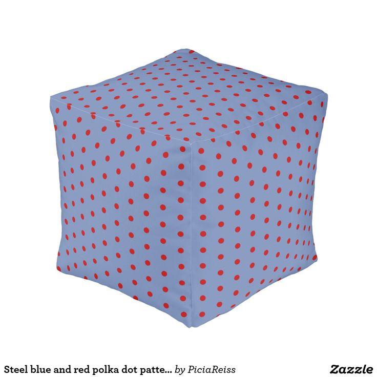30% off with code ZAZZLESPROUT Steel blue and #red polka dot pattern, retro style #pouf #polkadot
