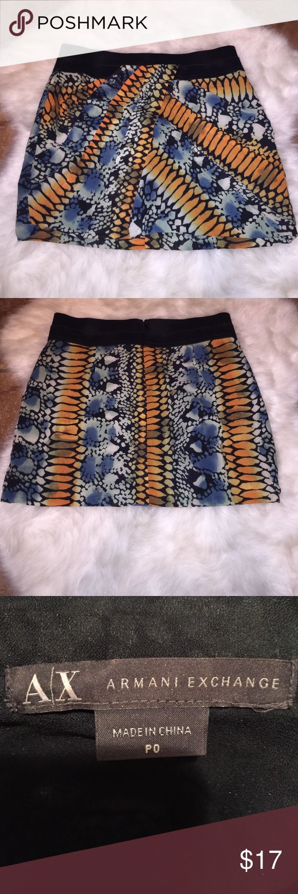 Armani Exchange Exotic mini Skirt Armani Exchange P0 size mini skirt / exotic print. Love! A/X Armani Exchange Skirts Mini