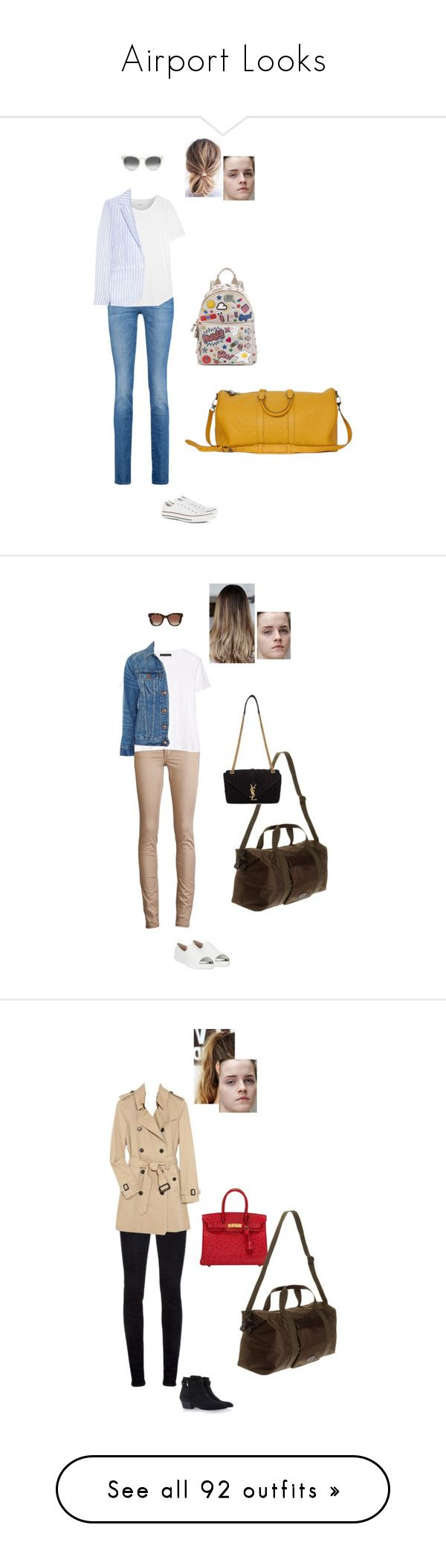 """Airport Looks"" by gracebeckett on Polyvore featuring moda, 7 For All Mankind, Converse, Madewell, Band of Outsiders, Louis Vuitton, TOMS, Anya Hindmarch, Acne Studios e Miu Miu"