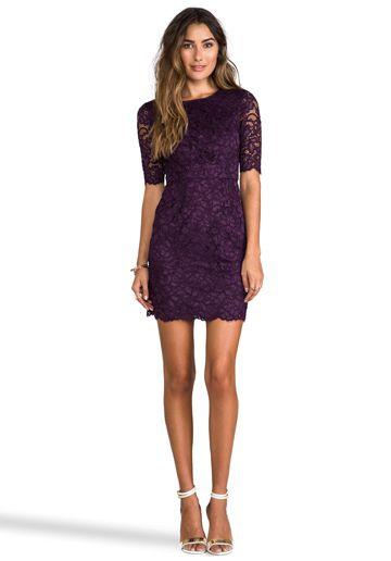 SHOSHANNA Magnolia Lace Davina Dress in Dark Violet