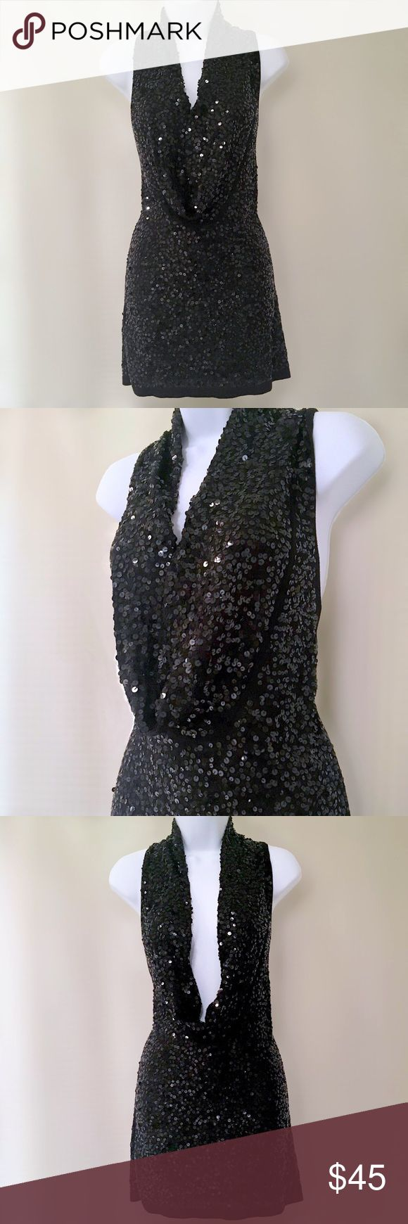 🎈Host Pick🎈BCBGMaxazaria Black Sequin Mini Dress Like new - worn once! Beautiful form fitting black sequined minidress from BCBGMaxazaria HOT plunging neckline and front cowl neck can be worn closed - or open! Material is silk blend, soft with stretch Chest is 16 inches flat and unstretched (measured from backside of dress) Length is 30 inches from shoulder seam to hem Neckline drop is approx 12 inches from shoulder  Excellent condition with no signs of wear, BCBGMaxAzria Dresses Mini
