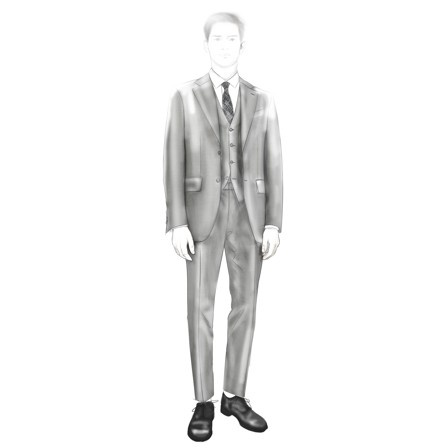Sketch of a three piece suit Zegna's new exclusive fabric, Trofeo Natural Comfort in pied-de-poule pattern inspired by 1960s piece that Zegna produced. The jacket, cut slim with narrow lapels and modern, constructed shoulders, is paired with flat front slimfit trousers and an exclusive celebratory silk tie characterized by its stamped,