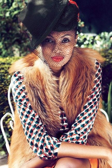 Imany Mladjao featured in Madame Figaro Magazine - photographed by Emmanuel Giraud.- love la chemise, la veste, l'orange.