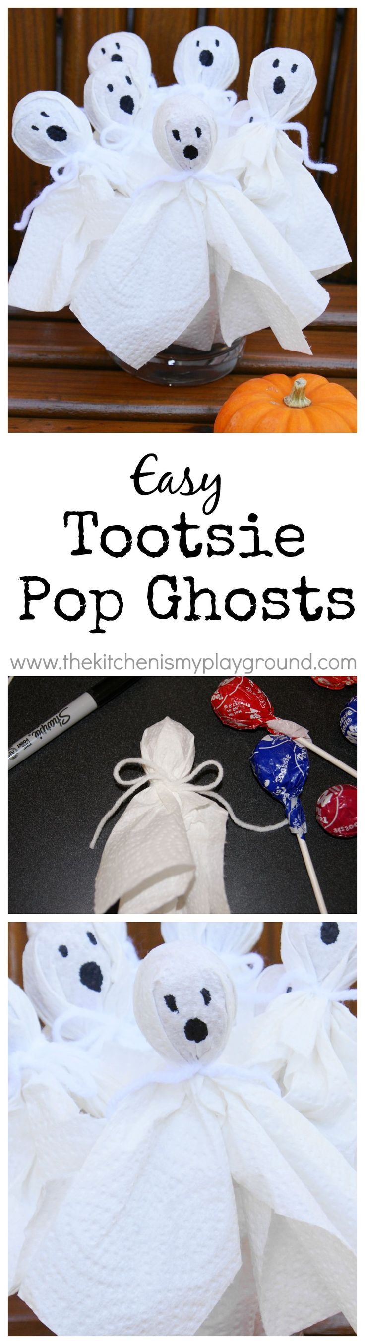 Super Easy Tootsie Pop Ghosts ~ a Halloween craft for kids that they'll LOVE!   www.thekitchenismyplayground.com