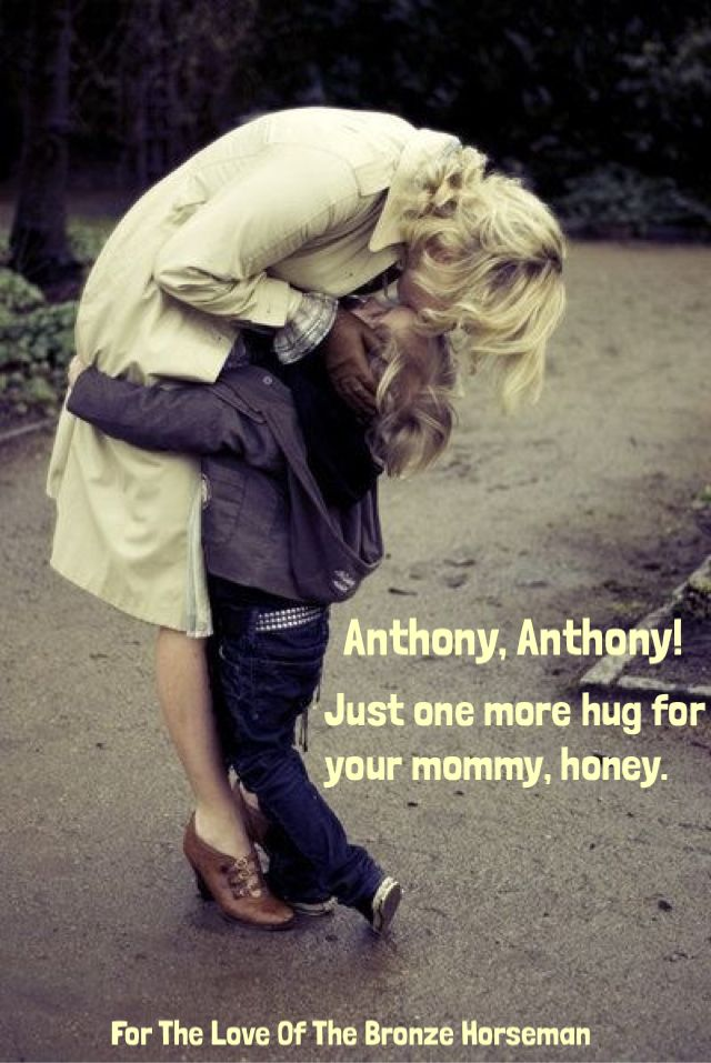 """Tatiana and Alexander ~ """"You're going to be all right with Vikki. You know how much she loves to take care of you. She make you eat donuts and ice cream every day."""" """"Yes, Mama."""" She watched him walk through the classroom doors, his backpack on his back, and then went after him. """"Anthony, Anthony!"""" He turned around. """"Just one more hug for your mommy, honey."""""""