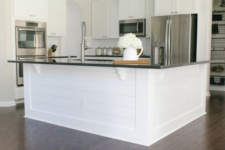 How To Add Shiplap To Your Kitchen Island Diy Diy Kitchen Island Kitchen Island Makeover Builder Grade Kitchen