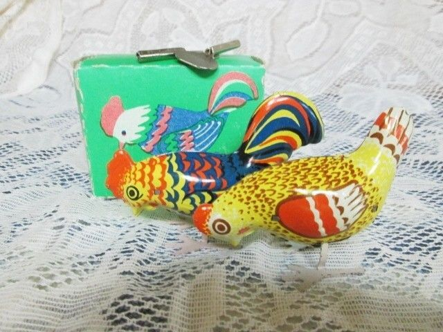 ANTIQUE - PAIR METAL WIND UP TOYS - ROOSTER/CHICKEN - USSR/RUSSIA - ORIG. BOX in Wind-up Toys | eBay