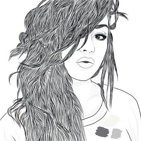 Best Tumblr Images On Pinterest Outlines Outline Art And - Hairstyle drawing tumblr