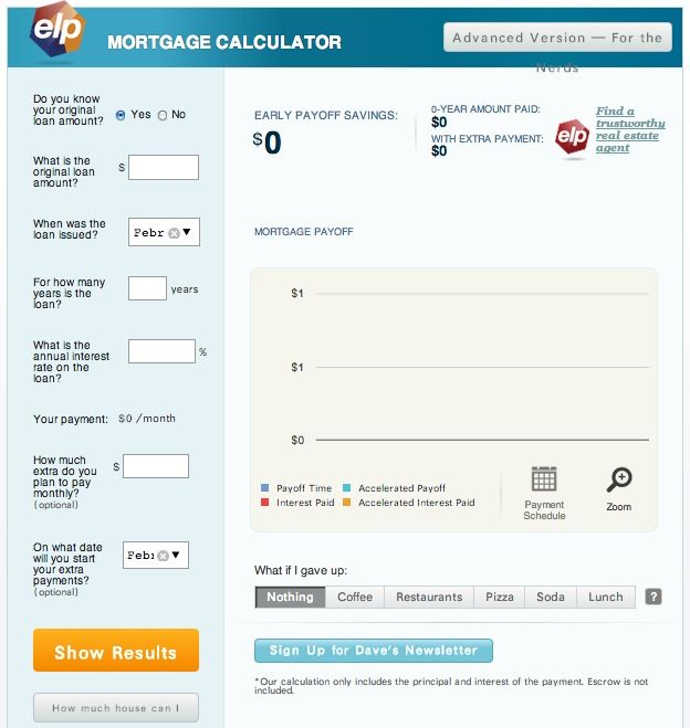 Dave Ramsey's mortgage calculator - run what-ifs to figure out how much extra you want to pay towards you're mortgage & how much you'll save if you pay off early.