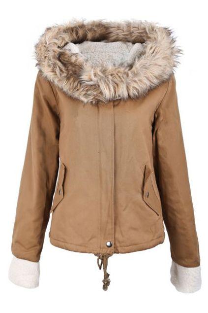 フード付きポケット カーキ色のコート