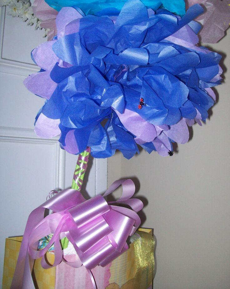 Lavender & blue tissue paper flower.