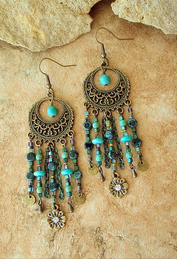 Boho Chandelier Earrings Turquoise Earrings Hippie by BohoStyleMe