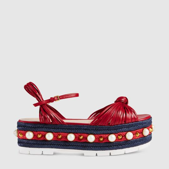 Gucci Leather knot espadrille