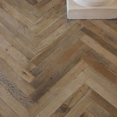 Antique French Oak Herringbone Wood Floor