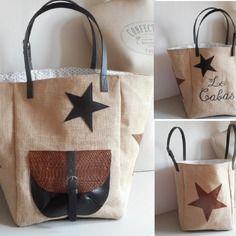 """Grand sac cabas toile de jute, coton, simili cuir, beige, noir, marron, broderie machine """"le cabas"""""""