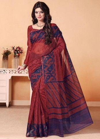 Brown & Blue Color Cotton Daily Wear Sarees : Shukriya Collection YF-31708