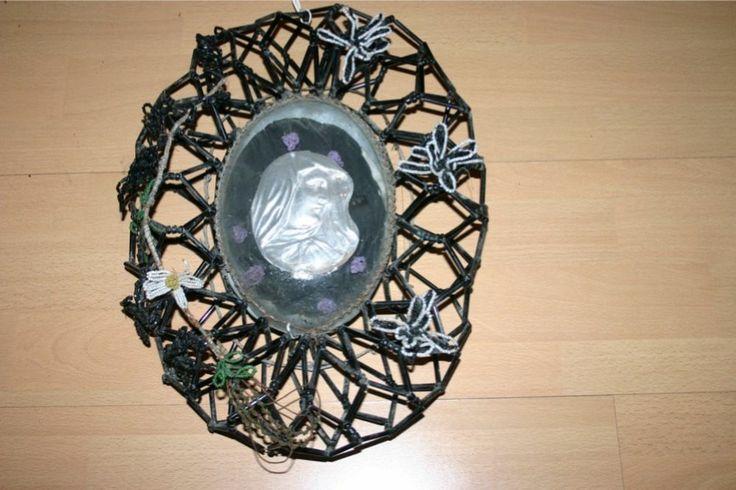 Rarität 1870-1900 Klosterarbeit Madonna Heilige Maria schwarzer Kranz Glasperlen