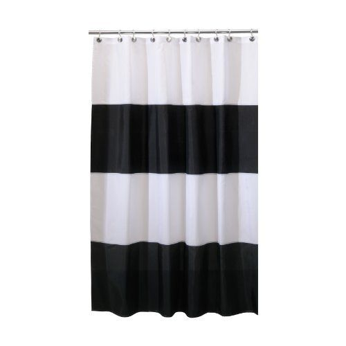 Interdesign Zeno Waterproof Long Shower Curtain Black White 72 Inches X 84 Inches By