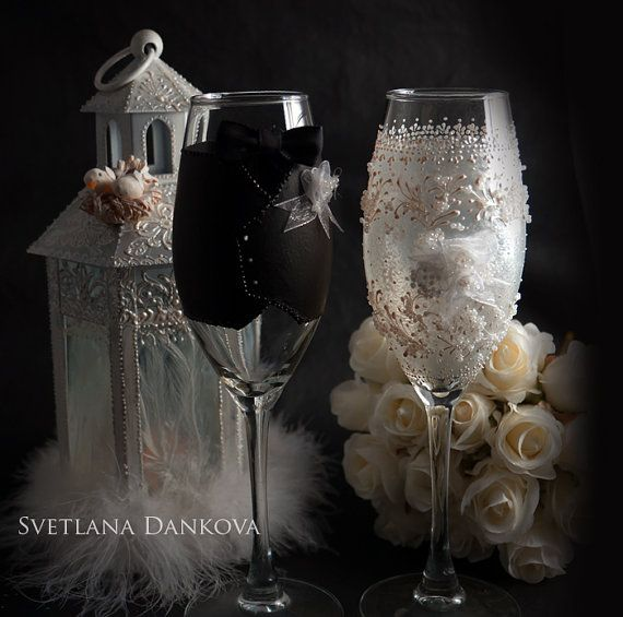 wedding wine glass set bridal shower gift wedding by laivaart