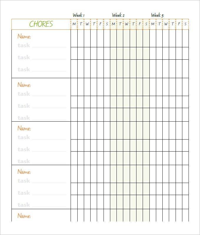 10 Family Chore Chart Templates Pdf Doc Excel Free Amp Premium Regarding Blank Monthly Chore Char Family Chore Charts Chore Chart Template Chore Chart