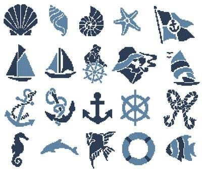 Nautical Motifs cross stitch pattern.