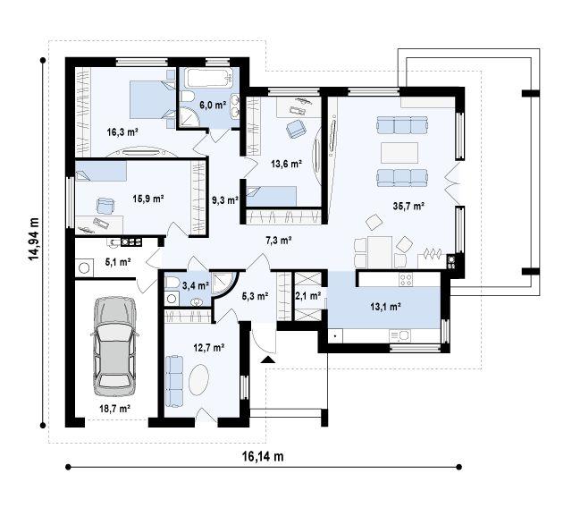 z201. Проекты домов (до 100 м2). Одноэтажные дома
