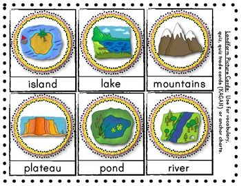 (sample page) LANDFORMS Vocabulary & Picture Cards Social Studies lessons. Great for games/Kagan activities and more. $