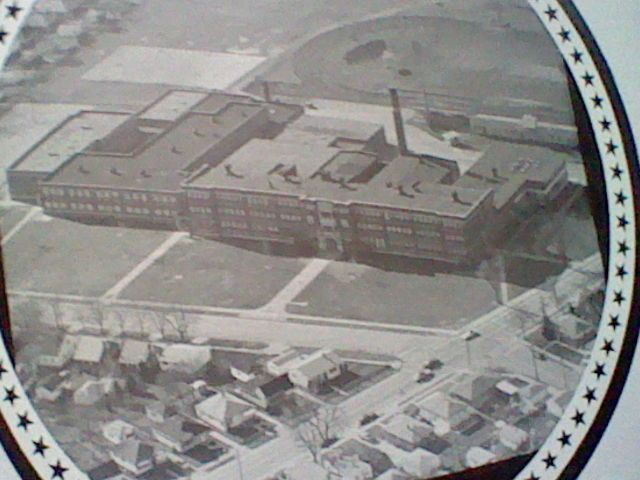 1975-1976 sky view of Huff Jr. High School, Lincoln Park, Michigan from the Hornet's Nest yearbook. Nearest intersection was Lafayette Street and Champaign Road- Huff Jr. High is no longer standing. Courtesy Frank Vergari Family.