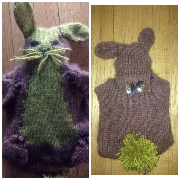 Knitting project bunny /rabbit hot water bottle cover