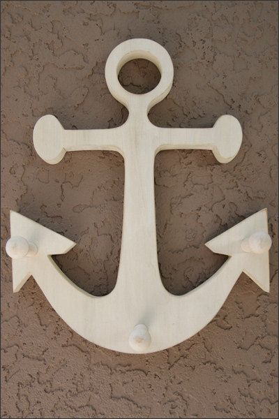 """12"""" Tall Handcrafted Wooden Anchor 3 Peg Wall Hanging, Nautical Towel Rack, Nautical Bedroom Decor, Beach Decor, Pool Decor, Hat or Key Hook"""